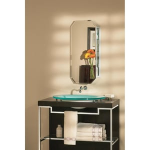 Jensen Metro 14-1/4 x 24 x 4 in. Medicine Cabinet with Octagonal Mirror in White R52WH244PT