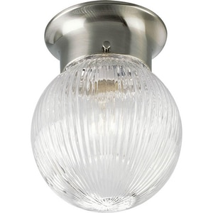 Progress Lighting Glass Globes 6-3/8 in. 1-Light LED Flushmount with Ribbed Glass Shade PP3599