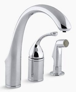 Kohler Forte® 2.2 gpm Single Lever Handle Deckmount Kitchen Sink Faucet High Arc Spout 3/8 in. Compression Connection K10430