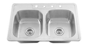 PROFLO 20 ga 2-Bowl Stainless Steel Kitchen Sink PFT33228