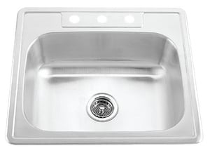 PROFLO® 25 x 22 in. 20 ga 3-Hole Single Bowl Stainless Steel Sink in stainless Steel PFT252273