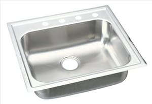 Elkay Gourmet 1-Bowl Topmount Kitchen Sink with Center Drain in Stainless Steel EEG2522