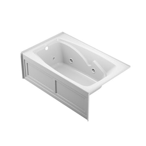 Jacuzzi Centra® 60 x 36 in. Acrylic Rectangle Drop-In or Skirted Air Bathtub with Left Drain and J2 Basic Control JCET6036ALR2XX