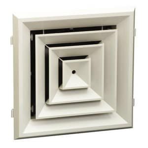 Hart & Cooley 12 x 12 in. Rezzin Ceiling Diffuser 4-Way White HRZ504W
