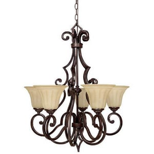 Capital Lighting Fixture Sierra 30-3/4 in. 100 W 5-Light Medium Chandelier in Mediterranean Bronze C3725MZ268