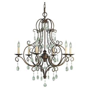 Murray Feiss Industries Chateau 25 in. 60 W 6-Light Candelabra Chandelier in Metro Bronze MF19026MBZ