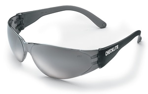 Crews Checklite® Frameless Scratch Resistant Safety Glasses with Smoke Frame & Silver Mirror Lens CCL117