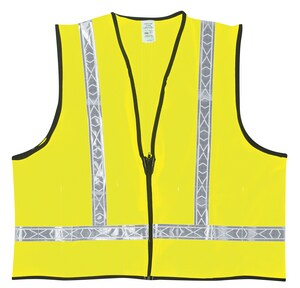 MCR Safety Polyester Vest With Reflector Stripe In Lime RVA22
