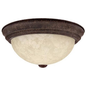 Capital Lighting Fixture 5-1/2 x 11 in. 60 W 2-Light Flush Mount Ceiling Fixture with Rustic Scavo Glass Shade C2731