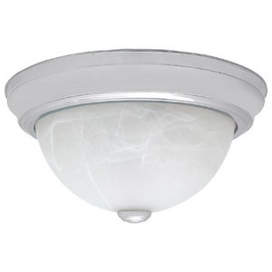 Capital Lighting Fixture 6-1/2 x 15 in. 3-Light Ceiling Fixture with White Faux Alabaster Glass Shade C2715