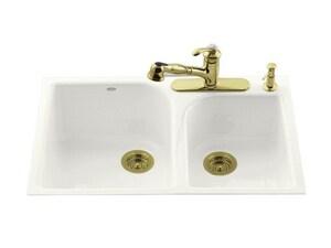 Kohler Executive Chef™ 4-Hole 2-Bowl Tile-In Large and Medium Kitchen Sink K5931-4