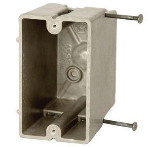 Allied Moulded Products Single Gang Switch Angled Mid Nail with Knockout A1098ND