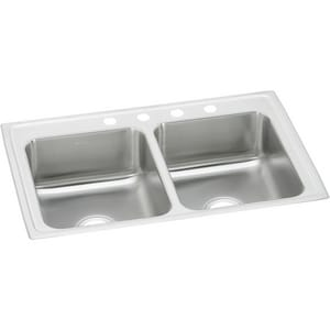 Elkay Gourmet Pacemaker® 2-Bowl Topmount Kitchen Sink with Center Drain EPSR3321