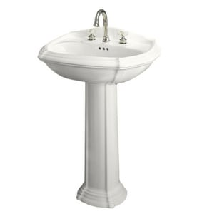 Kohler Portrait® 3-Hole Pedestal Oval Bathroom Sink with 4 in. Faucet Centerset with Center Drain K2221-4