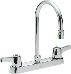 Delta Faucet Teck 1 5 Gpm Double Lever Handle Deckmount Kitchen Sink Faucet Gooseneck Spout 1 2