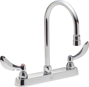 Delta Faucet Teck® 1.5 gpm Double Lever Handle Deckmount Kitchen Sink Faucet 360 Degree Swivel and High Arc Spout IPS Connection in Polished Chrome D26C3934