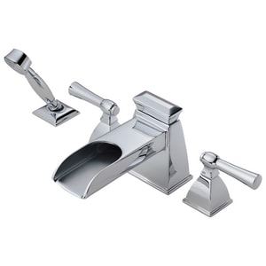 Delta Faucet Vesi™ 4-Hole Roman Tub Faucet with Double Lever Handle and Hand Shower DT67745