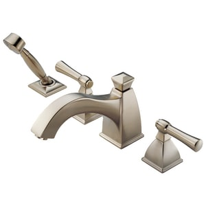 Brizo Vesi® 18.5 gpm 4-Hole Roman Tub Trim with Hand Shower and Double Lever Handle in Brilliance Brushed Nickel (Trim Only) DT67740BN