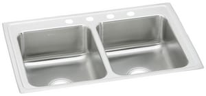 Elkay Gourmet® 2-Bowl Stainless Steel 2-Bowl Top Mount Kitchen Sink ELR37224