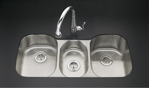 Kohler Undertone® 41-5/8 x 20 x 9-1/2 in. Triple Bowl Under-Mount Triple Bowl Kitchen Sink K3166-L-NA
