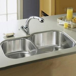Kohler Undertone® 35-1/8 x 20-1/8 x 9-5/8 in. Extra Large/Medium Double Bowl Under-Mount Kitchen Sink K3356-L-NA