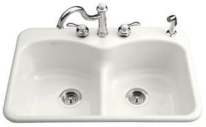Kohler Langlade® 3-Hole 2-Bowl Topmount Kitchen Sink K6626-3F