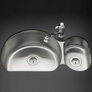 Kohler Undertone® 34-3/4 x 21-1/4 x 9-1/2 in. Under-Mount 75/25 Double-Bowl Kitchen Sink K3099-NA