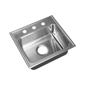 Just Manufacturing 3-Hole Single Bowl Stainless Steel Bar Sink in Brushed Steel JSL1617A3