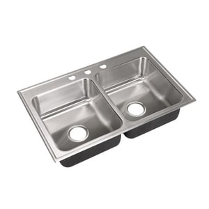 Just Manufacturing 3-Hole 2-Bowl Kitchen Sink Stainless Steel JDL1933A3