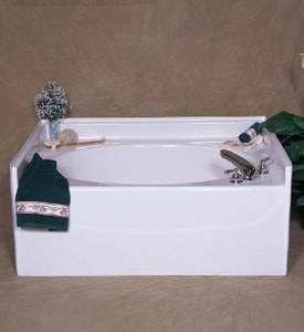 Bathcraft 59-3/4 x 42 in. Center Drain Fiberglass Reinforced Plastic Garden Bath B5009WH