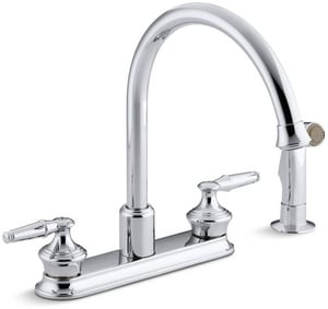 Kohler Coralais® 8 in. 2.2 gpm 4-Hole Deckmount Kitchen Sink Faucet Swing Spout 1/2 in. NPSM Connection (Less Handle) K15889-K