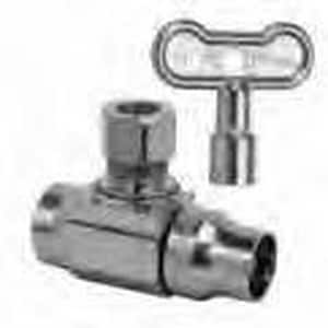 Brass Craft Nom Sweat x OD Compression Turn Angle Ball Stop Valve with Loose Key BKTSR19C