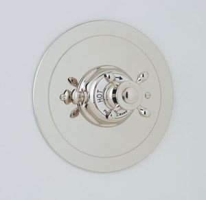 Rohl Perrin & Rowe® Single Cross Handle Round Thermostatic Trim Plate RU5566XTO