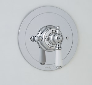 Rohl Perrin & Rowe® Round Thermostatic Trim Plate with Lever Handle RU5565LTO