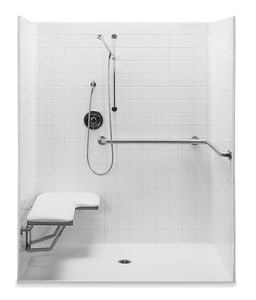 Aquatic Industries Accessible 60 x 34 in. Center Shower in White A1603BFSTWH