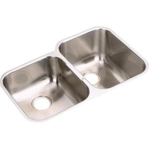 Elkay Gourmet Elumina 31-1/4 x 20-1/2 in. Double Bowl Under-Mount Sink-Left Hand Side Smaller EEGUH3120L