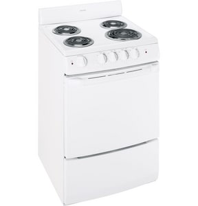 General Electric Appliances 24 in. Electric Free Standing Range in White GRA724KWH