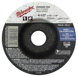Milwaukee 4-1/2 x 1/8 in. Grinding Wheel in Black M49944510
