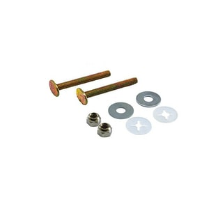 Jones Stephens 1/4 in. Brass Plated Closet Bolt with Round Washer and Tinnerman Nut JC02402