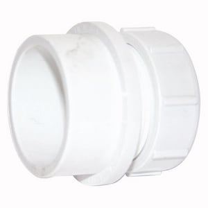 Streamline® 1-1/2 in. Spigot x Slip-Joint Male DWV and Straight PVC Trap Adapter with Plastic Nut and Washer PDWVMTANJ