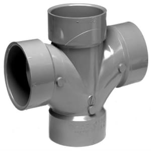 Charlotte Pipe & Foundry Hub Straight and Sanitary Schedule 40 Acid Waste CPVC Double Tee CAPAWD
