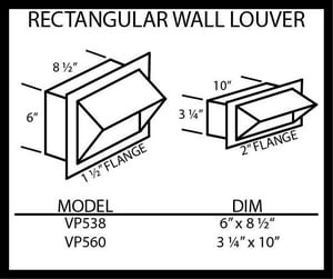 Vent-A-Hood 6 x 8-1/2 in. Wall Louver VVP538