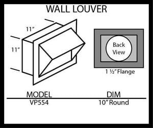 Vent-A-Hood 10 in. Wall Louver VVP554