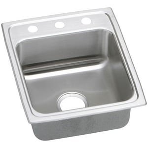 Elkay Gourmet® 3-Hole 1-Bowl Topmount Kitchen Sink with Center Drain in Lustrous Highlighted Satin ELR15223