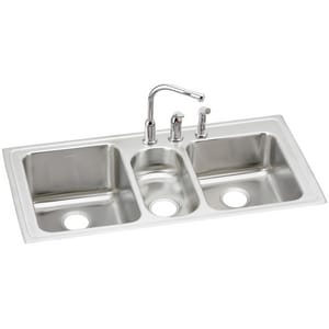Elkay Lustertone® 3-Bowl Stainless Steel Kitchen Sink with Faucet in Lustrous Highlighted Satin ELGR4322C