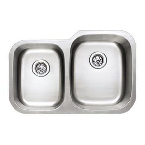 PROFLO 32 x 18 in. 2-Bowl Right-Hand Undercounter Kitchen Sink PFUO907R