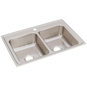 Elkay Gourmet Lustertone® 2-Bowl Topmount Kitchen Sink Kit with Center Drain ELR3322