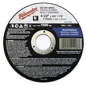 Milwaukee 4-1/2 in. X .045 in. X 7/8 in. Aluminum Oxide Cut-Off Wheel M49944500