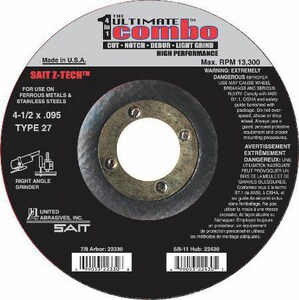 United Abrasives 7/8 x 6 x 0.045 in. Type 27 Z-tech Grinding Wheel U23336
