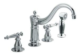 Kohler Antique™ 1.5 gpm Double Lever Handle Deckmount Kitchen Sink Faucet Column Spout 3/8 in. Flexible Connection K158-4